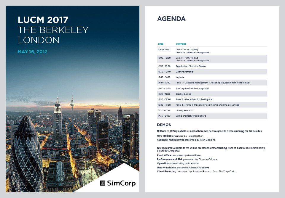 SimCorp Event Brochure Design